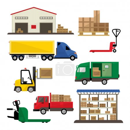 Photo for Set of warehouse transportation and shipping icons in flat style, isolated vector illustration - Royalty Free Image