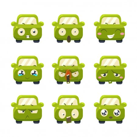 Illustration for Funny Cars with Emoticons. Vector Illustration Set - Royalty Free Image