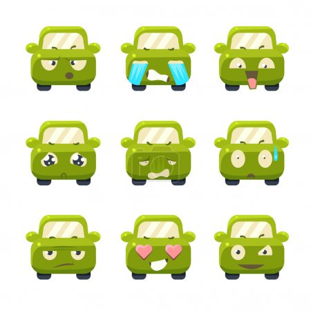 Illustration for Cute Cars with Emoticons. Vector Illustration Set - Royalty Free Image