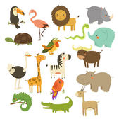 Nice Woodland and Jungle Animals Vector Set