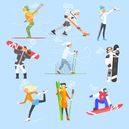 Illustration for Winter Sports and Activities. Vector Illustration Collection - Royalty Free Image