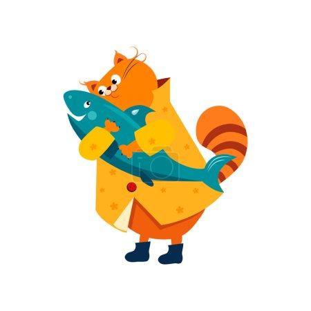 Orange Cat in a Raincoat Hugs  Fish.