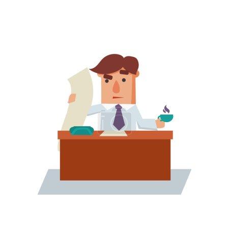 Illustration pour Sérieux homme d'affaires dessin animé personnage plat vecteur illustration - image libre de droit