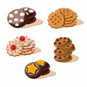 Tasty Cookies Set of cartoon vector food icons