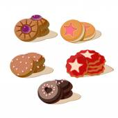Colourful Cookies Set of cartoon vector food icons