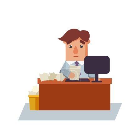 Illustration pour Homme d'affaires avec une illustration vectorielle de personnage de dessin animé en papier - image libre de droit