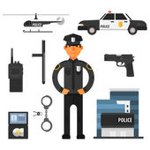 Policeman police department police helicopter police car Flat style Elements for infographic Vector set