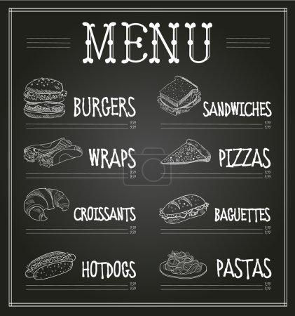 Illustration pour Modèle de menu de tableau. Ensemble d'illustration vectorielle monochrome - image libre de droit