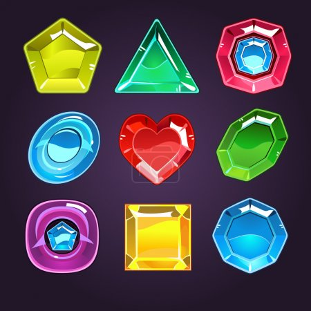 Cartoon Vector Gems and Diamonds Icons Set