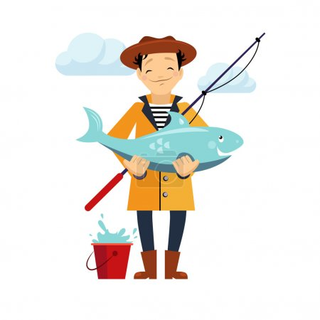 Fisherman and Fish Vector Illustration