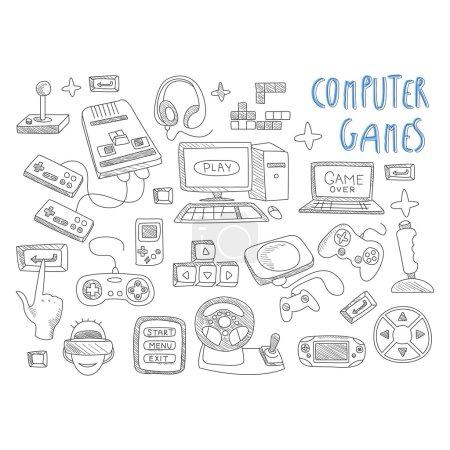 Illustration pour Jeux d'ordinateur gribouillis icône set illustration vectorielle - image libre de droit