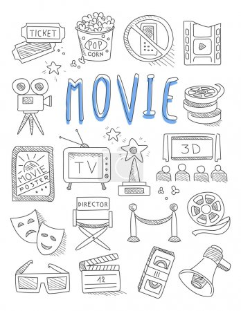 Photo for Cinema doodles set of hand drawn  vector illustration - Royalty Free Image