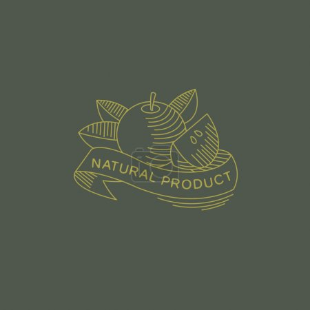 Illustration for Vector label in trendy mono line style organic and natural badges for fresh farm products and food packaging of linear emblems and icons - Royalty Free Image