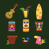 Hawaii Surf Retro Posters Collection in Flat Design Style Bright Vector Illustration