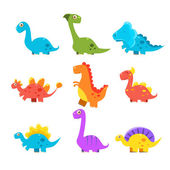 Small Colourful Dinosaur Set Cute Vector Collection