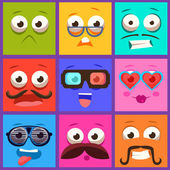 Cartoon Faces with Emotions and Mustache Vector Set