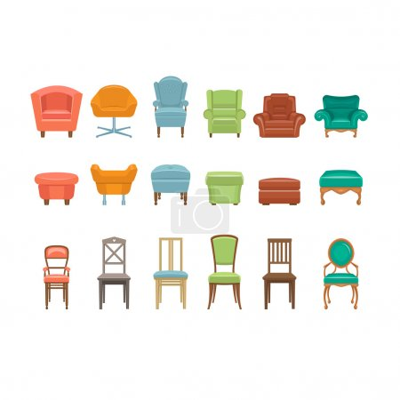 Illustration for Furniture for Sitting. Chairs Armchairs Stools Icons. Vector Illustration Set - Royalty Free Image