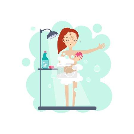 Illustration pour Prendre une douche. Daily Routine Activities of Women. Illustration vectorielle colorée - image libre de droit