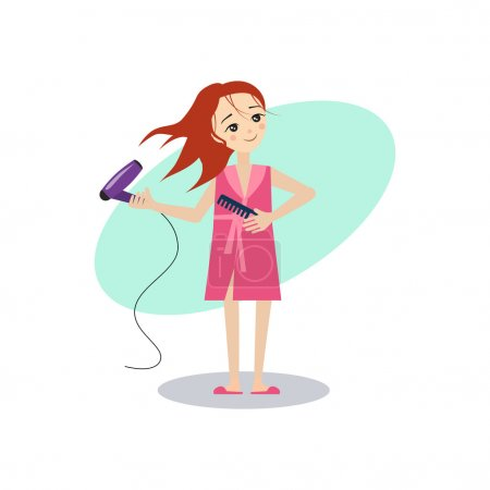 Drying Hair. Daily Routine Activities of Women. Vector Illustration