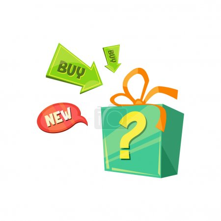Illustration for New Product Offer, box with a surprise. Flat Vector Illustration - Royalty Free Image