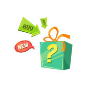 New Product Offer box with a surprise Flat Vector Illustration