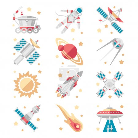 Illustration for Space Icons set Vector Collection flat style - Royalty Free Image