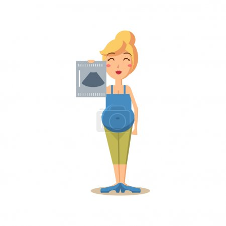 Illustration for Pregnant Woman Holding Ultrasound Picture. Flat Vector Illustration - Royalty Free Image