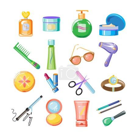 Photo pour Icônes cosmétiques. Illustration vectorielle Collection art style coloré - image libre de droit