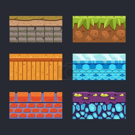 Different materials and textures for the game set...