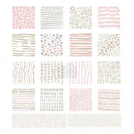 Illustration for Handdrawn Doodle Textures, pink and beige linens shadesVector Illustration Set - Royalty Free Image