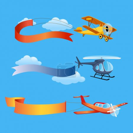 Illustration for Planes Flies with Long Banners for Text on a Background of Sky. vector Illustration - Royalty Free Image