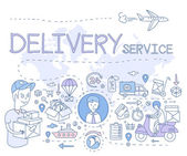 Delivery Service Infographics Hand drawn Vector Illustration Doodle style concept Modern line style illustration for web banners hero images printed materials vector illustration