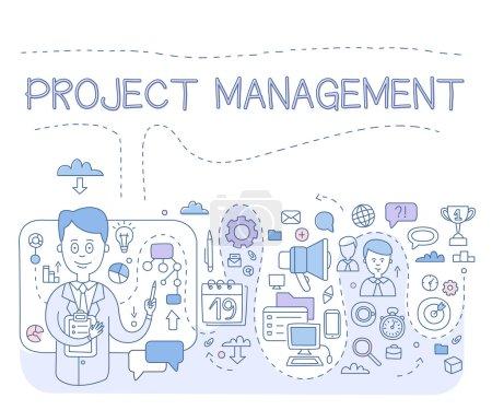 Illustration pour Doodle concept de style de gestion de projet, organisation, contrôle des ressources de l'entreprise, risques, réalisation des objectifs du projet. Illustration de style moderne ligne de bannières web, images de héros, imprimé matériaux vector illustration - image libre de droit