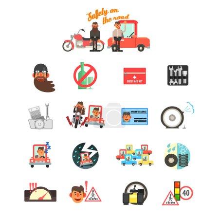 Illustration pour Règles de conduite pour la sécurité des motocyclettes et des voitures. Ensemble d'illustration vectorielle plate - image libre de droit