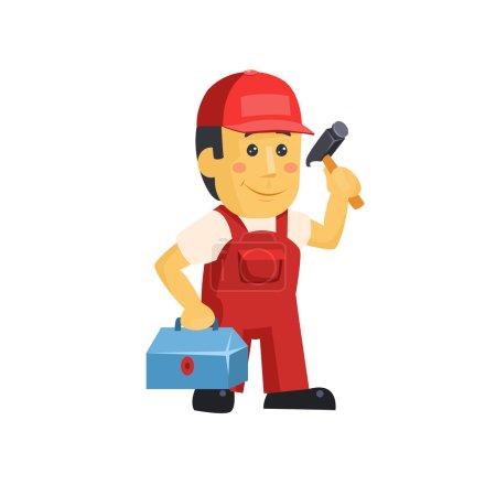 Illustration pour Amical ouvrier de la construction avec des outils, illustration vectorielle - image libre de droit