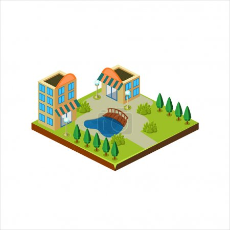 Isometric icon representing modern houses