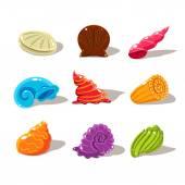 Sparkling Cartoon Sea Shells. Vector Illustration Set