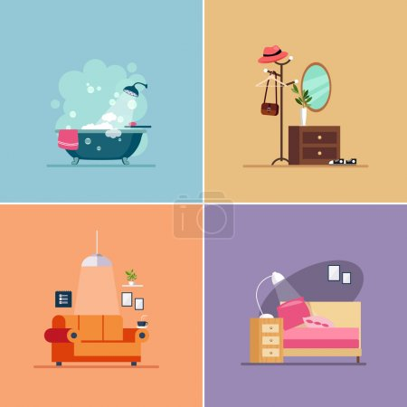 Illustration for Interior Design Room Types. Vector Illustration Collection - Royalty Free Image