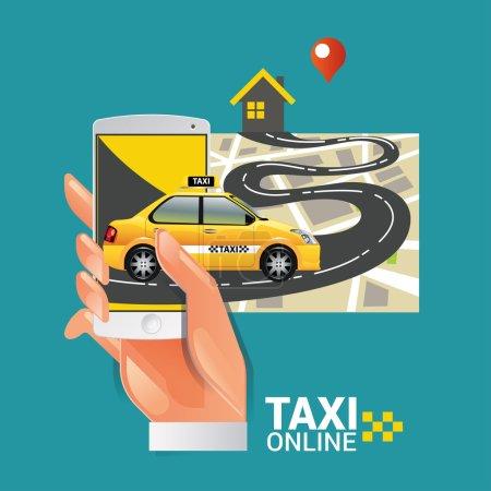 Illustration pour Illustration vectorielle d'un concept de service de taxi. Smartphone et écran tactile - image libre de droit