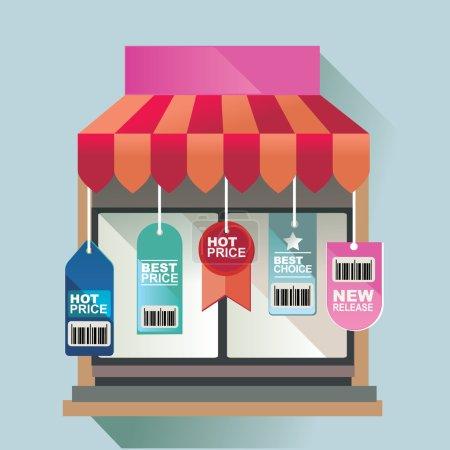 Illustration pour Concept d'illustration vectorielle pour magasin de détail et entreprise - image libre de droit