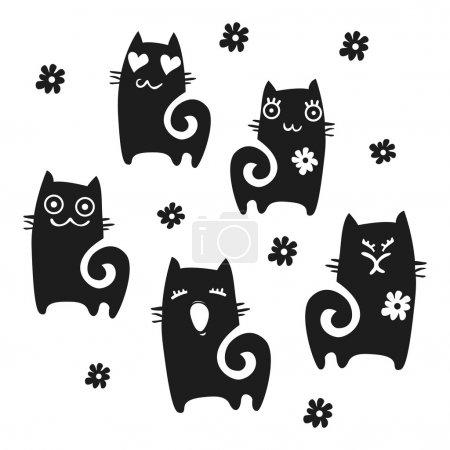 Illustration pour Collection Chats - silhouette vectorielle - image libre de droit