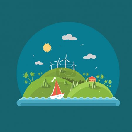 Illustration for Nature - Flat design vector summer time landscape concept illustration with icons of ecology, environment, green energy - Royalty Free Image