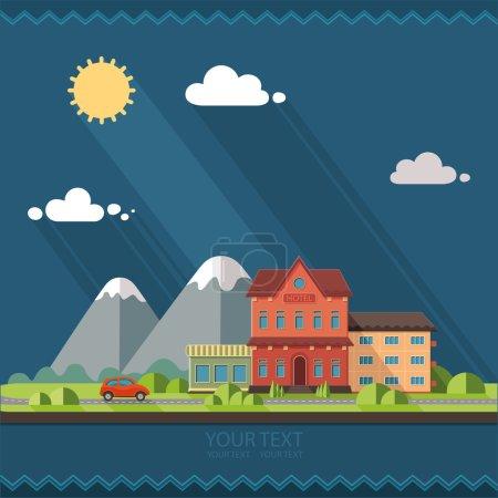 Illustration pour Nature paysage de villégiature d'été. Voiture rouge, la route vers les montagnes, de belles vues. Illustration vectorielle de style design plat . - image libre de droit