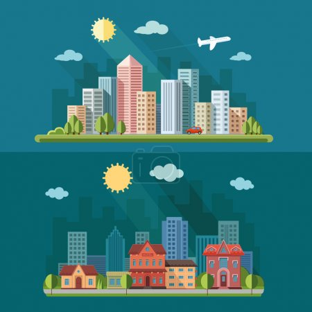 Photo for Urban landscape illustration set. big city, a metropolis street and trees background. Flat style vector illustration - Royalty Free Image