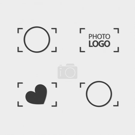 Logo Photos, viewfinder Camera logo vector set. Trendy flat came