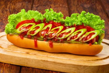 American food - spicy hot dog with chili
