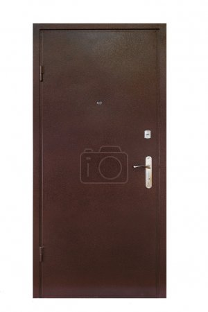 Brown metal security door isolated on white
