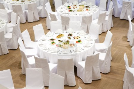 Beautifully organized event - served banquet tables