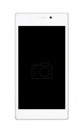 White smartphone with black screen