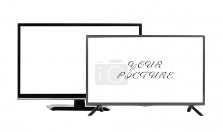 Two modern TV set isolated at white background